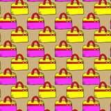 Seamless pattern with doodle gift box on light background Royalty Free Stock Images