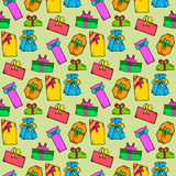 Seamless pattern with doodle gift box on red background Royalty Free Stock Image