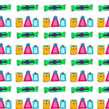 Seamless pattern with doodle gift box on white background Royalty Free Stock Photo
