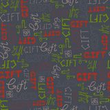 Seamless pattern doodle GIFT words on gray background Royalty Free Stock Photo