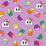 Pattern with doodle girls and ice creames stock illustration