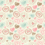 Seamless pattern with doodle heart icons for valentines day Royalty Free Stock Images