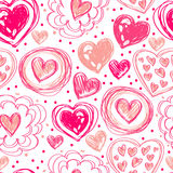 Seamless pattern with doodle heart icons for valentines day Stock Image