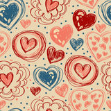 Seamless pattern with doodle heart icons for valentines day Stock Images