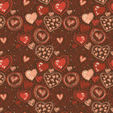 Seamless pattern with doodle heart icons for valentines day Stock Photos