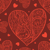 Seamless pattern with doodle heart. Red doodle heart on a dark-red background. Can be used as a background or any other design Royalty Free Stock Photo