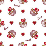 Seamless pattern with doodle heart shaped cookies Royalty Free Stock Photos