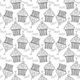 Seamless pattern with doodle hearts and cupcakes. Royalty Free Stock Images