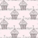 Seamless pattern with doodle hearts and cupcakes. Royalty Free Stock Image