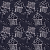 Seamless pattern with doodle hearts and cupcakes. Royalty Free Stock Photography