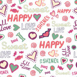 Seamless pattern doodle hearts love happy sweet words repeat. Vector avaliable Royalty Free Stock Photo