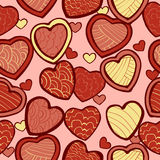 Seamless pattern with doodle hearts Stock Image