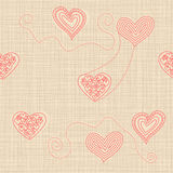 Seamless pattern with doodle hearts on texture background Royalty Free Stock Image