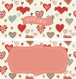 Seamless pattern with doodle hearts on texture background Royalty Free Stock Photos