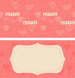 Seamless pattern with doodle hearts on texture background Stock Image