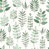 Seamless pattern with doodle herbs and flowers Stock Photo