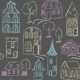 Seamless pattern with doodle houses Stock Image