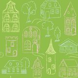 Seamless pattern with doodle houses Royalty Free Stock Image