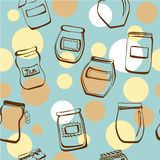 Seamless pattern with doodle jam jars Stock Photography