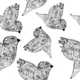 Seamless pattern with doodle l birds Stock Photos