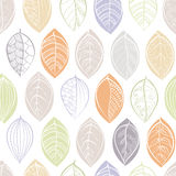 A seamless pattern with doodle leafs. A seamless pattern with doodle leaves. Textile print. Set of doodle  leaves isolated on white. Spring  pattern  in doodle Royalty Free Stock Photography