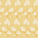 Seamless pattern with doodle leaves and branches Stock Photo