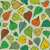 Seamless pattern with doodle leaves Stock Photography