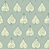 Seamless pattern with doodle leaves Royalty Free Stock Photography
