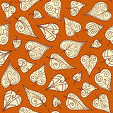 Seamless pattern with doodle leaves Stock Images
