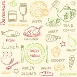 Seamless pattern with doodle menu elements Stock Photos