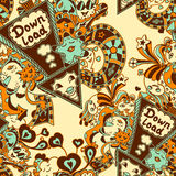 Seamless pattern with doodle monsters blue yellow brown Stock Images