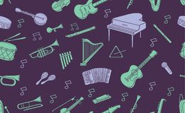 Seamless pattern of doodle musical instrument in pastel color. Seamless pattern of  musical instrument element in pastel color isolated over dark background Royalty Free Stock Image