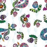 Seamless pattern with doodle ornaments. Background with decorative doodle ornaments vector illustration