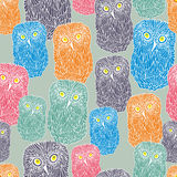 Seamless pattern with doodle owl, cute bird of the night. Vector repeated texture. Stock Photography