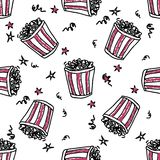 Seamless pattern with doodle pop corn backets. Seamless vector pattern with doodle pop corn backets and stars Stock Images