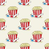 Seamless  pattern with doodle pop corn baskets and stars Royalty Free Stock Photos