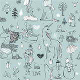 Seamless pattern with doodle princess and unicorn. Doodle seamless pattern with winter hand drawn princess with unicorn Stock Image