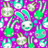 Seamless pattern with doodle rabbits. Easter colorful doodle seamless pattern with child drawn cute rabbits and floral design elements. These funny bunnies can vector illustration