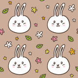 Seamless pattern with doodle rabbits and flowers Royalty Free Stock Photo