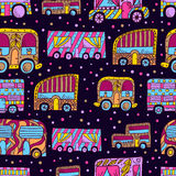 Seamless pattern with doodle recreational vechicles-1 Stock Photos