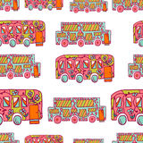 Seamless pattern with doodle recreational vechicles-3 Stock Image