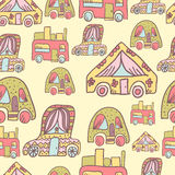 Seamless pattern with doodle recreational vechicles-4 Royalty Free Stock Photo