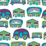 Seamless pattern with doodle recreational vechicles-2 Royalty Free Stock Photo