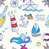 Seamless pattern with doodle sea elements Stock Image
