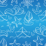 Seamless pattern with doodle sea elements Royalty Free Stock Image