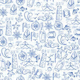 Seamless pattern with doodle sea elements Stock Photography