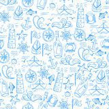 Seamless pattern with doodle sea elements Royalty Free Stock Photography