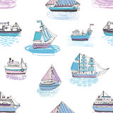 Seamless pattern with doodle ships, yachts, boats, sailing craft, sailboat, nautical vessel. Background with sea Stock Images