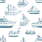 Seamless pattern with doodle ships, yachts, boats, sailing craft, sailboat, nautical vessel. Background with sea Royalty Free Stock Photography