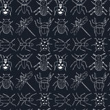 Seamless pattern doodle sketch Bugs and beetles Stock Photography